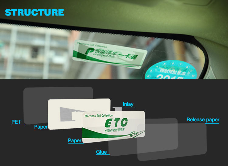 Non Transferable Car Windshiled Label Rfid Card